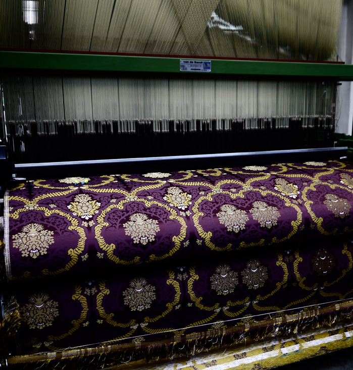 Beautiful fabric being produced by machine